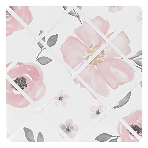 Blush Pink, Grey and White Fabric Memory Memo Photo Bulletin Board for Watercolor Floral Collection by Sweet Jojo Designs