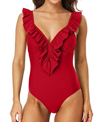 Sociala Womens Ruffle Plunge V Neck One Piece Bathing Suits Padded Monokinis Swimsuits(Large, Wine Red)