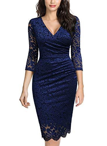 MIUSOL Damen V-Ausschnitt Vintage Etuikleid 3/4 Arm Spitzenkleid Cocktailkleid festliches Partykleid Navy Blau XL