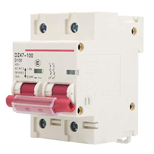 Instalación en Carril Tipo D Disyuntor 2P DZ47-100 Disyuntor en Miniatura 2P 80-100A Disyuntor de protección contra sobrecarga para distribución de energía con manija
