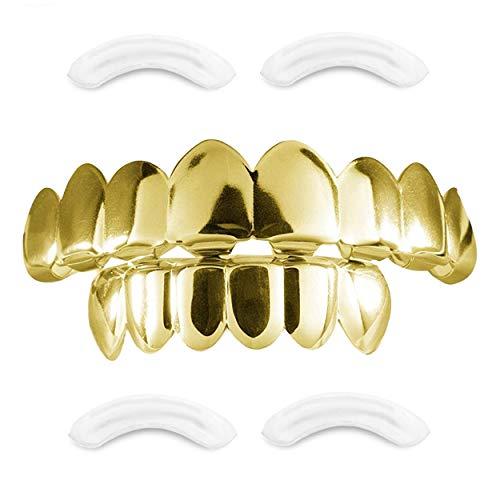 24K vergoldeter Compatible with Grillz mit Micropave CZ Diamanten + 2 EXTRA Formteile (Jeder Stil, Weißgold, Silber, Gold, Diamanten) (Gold 8)