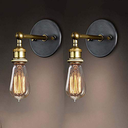2 Stück -Drehbare Wandleuchte, Wandleuchte Vintage Verstellbar Metall Wandlampe Antik Wandlampe Rustikal für Landhaus Schlafzimmer Wohnzimmer Esstisch Restaurant, Café, Flur.