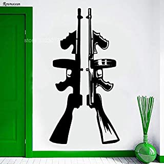 YHEGV 42x81cm Cool Home Decor Vinyl Wall Sticker Tommy Gun Machine Automatic Wall Decals Self-Adhesive Removable Room Decoration Mural