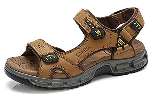CAMEL CROWN Leather Sandals for Men Strap Athletic Shoes Hiking Sandals for Walking Beach Outdoor Summer (9 M US, Khaki)