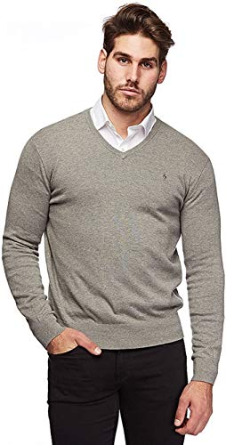 Polo Ralph Lauren Long Sleeve-Sweater Jersey, Gris (Metallic Grey Heather 2XAM), X-Large para Hombre