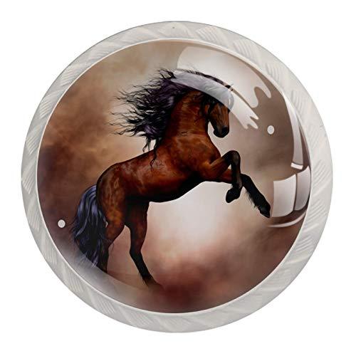Xingruyun Schrankgriffe Springendes Pferd Möbelknöpfe Kinder 4er Set Möbelknöpfe Kinderzimmer Set Schubladenknöpfe Möbelknäufe Kinderzimmer 4 Stück 3.5x2.8cm