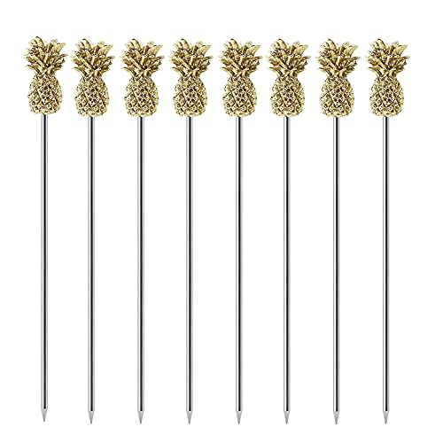 Vivicap 8 Pcs Creative Pineapple Cocktail Pick Fruit Insert Stainless Steel Tableware Decoration for Eating Fruits Salads Snacks Cakes Desserts Sushi In the Kitchen Table Bar Party (Gold)
