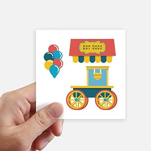 DIYthinker Incroyable Funny Park Hot Dog Illustration Autocollant carré de 10 cm Mur Valise pour Ordinateur Portable Motobike Decal 8Pcs 10cm x 10cm Multicolor
