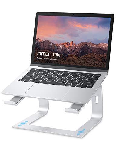 OMOTON Laptop Ständer, Notebook Stand mit Belüftung, Universal PC Riser Ergonomisch Laptopstand Aluminium für Laptops in 10-15.9 Zoll wie MacBook Pro/Air, HP, Dell, Lenovo, Samsung, Huawei, Silber