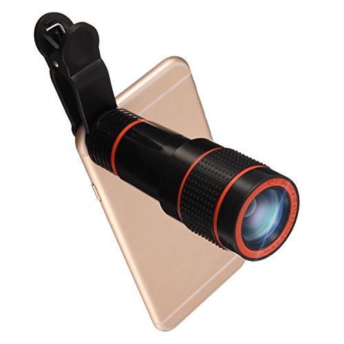 Lentes Movil 12x Zoom,Hizek Lentes para Camara Telefono Universal Fisheye Objetivo de Ángulo...
