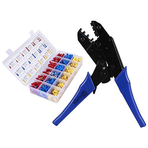 Engarzadora de alambre, 8,9 x 2,9 x 0,8 pulgadas Juego de herramientas de prensado de alambre Engarzadora de trinquete Engarzadora de terminales Estructura de trinquete ajustable para cables