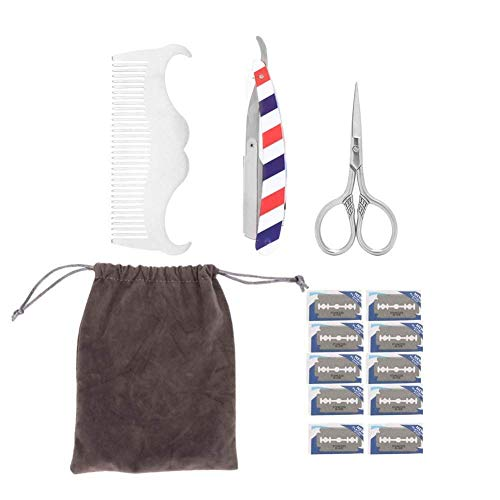 NBHUYT Beard Modellierung Set, Vollbart Kit Bart-Bürste-Styling Kamm Scheren Rasiermesser Modelling Kit Set Klassik Razors for Männer Take Care-of-Bart, praktisches Zubehör (Color : 4pcs/Set)