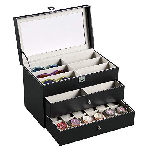 Siveit Sunglass Organizer Leather Eyeglasses Collector Eyewear Display Case Storage Box, Black, 12 Watches + 12 Sunglasses Slots