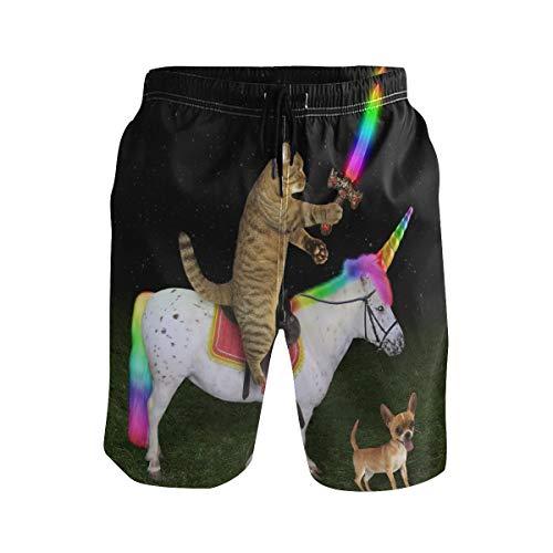 SENNSEE Unicornio con Gato Perro bañador Troncos para Hombres niño Playa Pantalones Cortos con Bolsillos de Secado rápido L
