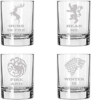 Brindle Southern GoT Glasses, Stark, Baratheon, Lannister and Targaryen set of FOUR etched rocks/whiskey glasses