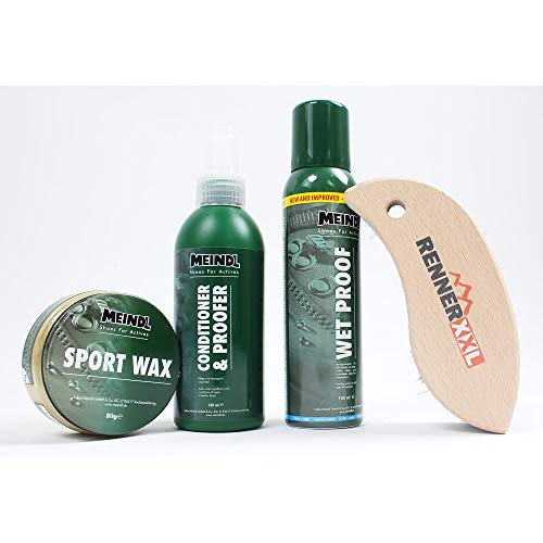 Meindl Leder MegaPack Sportwax + Imprägnierer + Conditioner + Pflegebürste