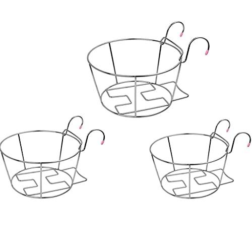 YUEXIN Blumentopfhalter für den Balkon,Pflanzgefäße zum Aufhängen, Blumenregal aus rostfreier Stahl,Fenster grün Pflanzbecken Regal, Blumen-Topf-Gestell-Geländer-Zaun im Freien, Garten