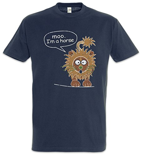 Urban Backwoods Moo I\'m A Horse Herren T-Shirt Blau Größe L