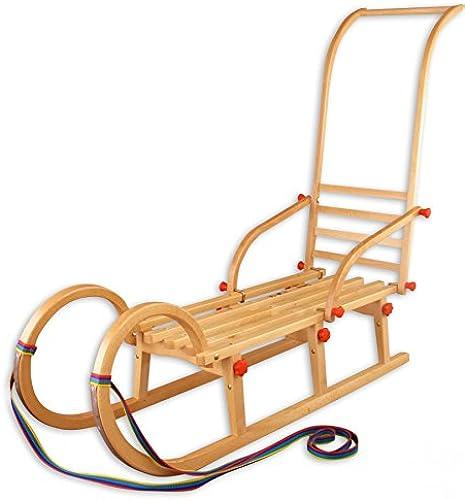 Erst-Holz 21-110-Stange H erschlitten klappbar 110cm   mit Schubstange, Rodel, Schlitten Holzschlitten Rodelschlitten