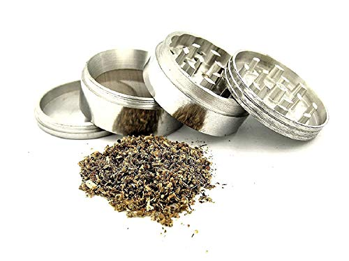 Separate Way Herb Weed Crusher Grinder Stainless Steel with Honey Dust Filter with 4 Part, Silver (52 MM)