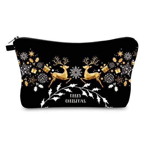 Yunnyp Bolsa de Cosméticos de Navidad Bolsa de Maquillaje para Mujer Bolsa de Almacenamiento de Artículos de Tocador de Viaje Regalo de Navidad