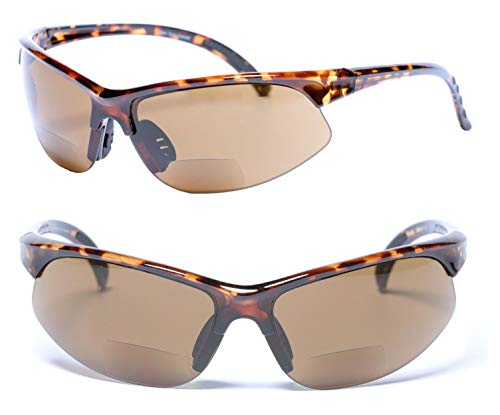 2 Pair of Bifocal Sport Wrap Reading Sunglasses, Outdoor Sun Readers for Men and Women - 2 Microfiber Carrying Cases Included (Tortoise, 1.75)