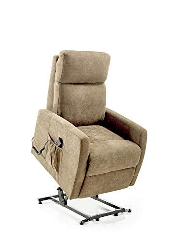 Home Heavenly - Sillón Relax Lyon, butaca reclinable con elevación automática Lyon, en tapizado Tostado