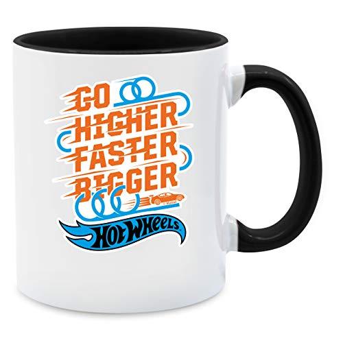 Hot Wheels Tasse - Go higher faster bigger - Unisize - Schwarz - Spruch - Q9061 - Kaffee-Tasse inkl. Geschenk-Verpackung