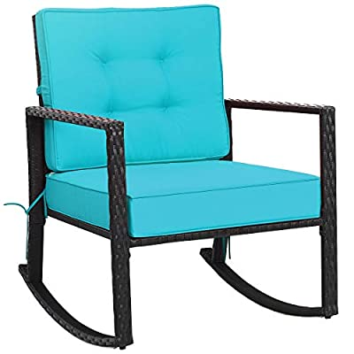 """Tangkula Wicker Rocking Chair, Outdoor Glider Rattan Rocker Chair with Heavy-Duty Steel Frame, Patio Wicker Furniture Seat with 5"""" Thick Cushion for Garden, Porch, Backyard, Poolside (1, Turquoise)"""