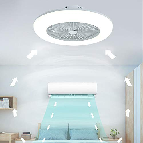 Ventilador de techo con iluminación, fan blanco luz de ventilador LED, Refrigeración velocidad del viento regulable, regulable con control remoto, 80W plafón led de techo para dormitorio salón comedor