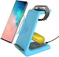 Wireless Charger, 3 in 1 Wireless Charging Station for Samsung S20/S10+/S10/S9/Note8/S8/S7 & Galaxy Buds & Galaxy Watch, Wireless Charging Stand for iPhone12/SE/11//XR/XS/X/8 & AirPods2/pro(Blue)