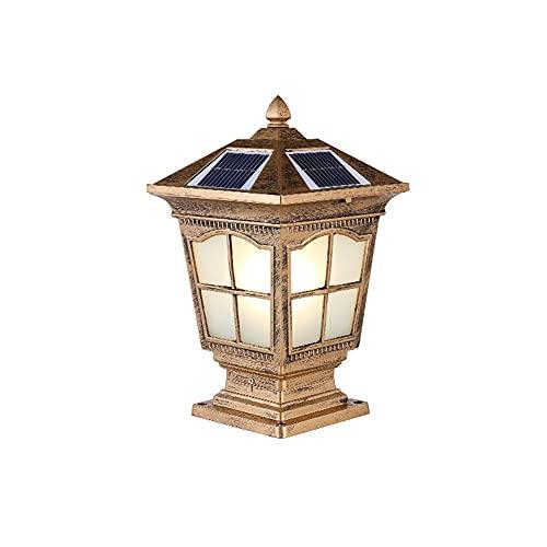 Lámpara de la columna de la puerta del paisaje del jardín impermeable al aire libre de la pared de la pared solar - una lámpara de doble propósito, cambio de tres colores, control remoto intel