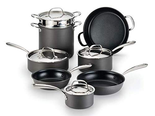 Lagostina Nera Hard Anodized Nonstick 12-Piece Cookware Set with Hammered Stainless Steel Lids, Dishwasher Safe,Grey