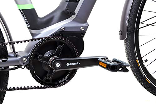 41iiNHRCB6L - 28 Zoll Fahrrad TechniBike E-Bike Pedelec Riemen Continental 70Nm Grau Grün Gr.M