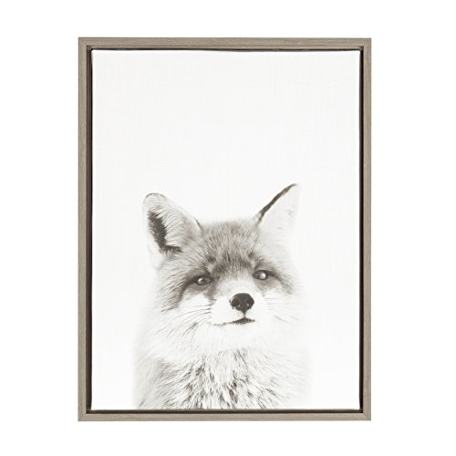Kate and Laurel Sylvie Fox Black and White Portrait Framed Canvas Wall Art by Simon Te Tai, 18x24 Gray
