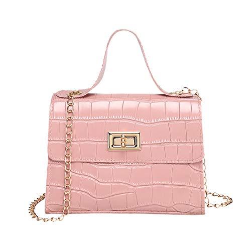 ZIJ Bolso de Hombro Mujer Mini Bolso Nuevo Elegante Hombro Messenger Cadena portátil Muchacha PVC Jelly Bag Pearl Crossbody Rhombus Pequeño Bolso Cuadrado (Color : Pink 3, Talla : 20cm)