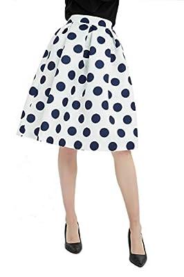 Tronjori Womens High Waisted A Line Pleated Midi Skirt Wave Point Dot Print