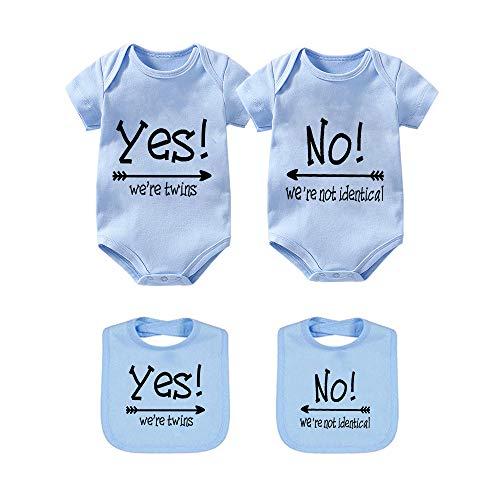YSCULBUTOL Body de bebé Sí somos gemelos No somos gemelos idénticos gemelos mono niños niñas gemelos ropa de manga corta - azul - 6-9 meses