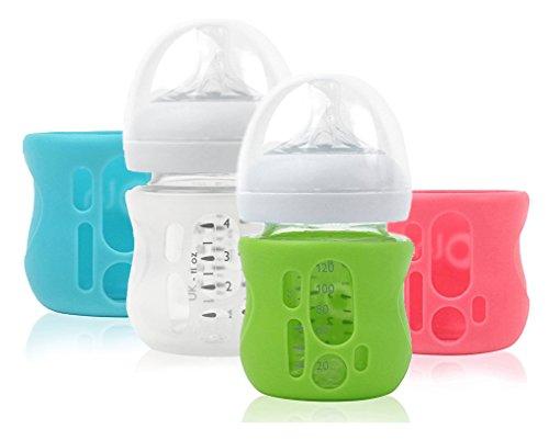 OlaBaby Glasflaschenhülle für AVENT Glasflaschen 120ml - Bruchschutz, Schutzhülle, Silikonhülle (Rosa)