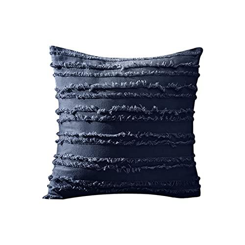 Funda de cojín de 45 x 45 cm, funda de cojín de un solo color, estampado geométrico, algodón y lino, funda de cojín, muy suave, decorativa, para dormitorio, cama (Marine)
