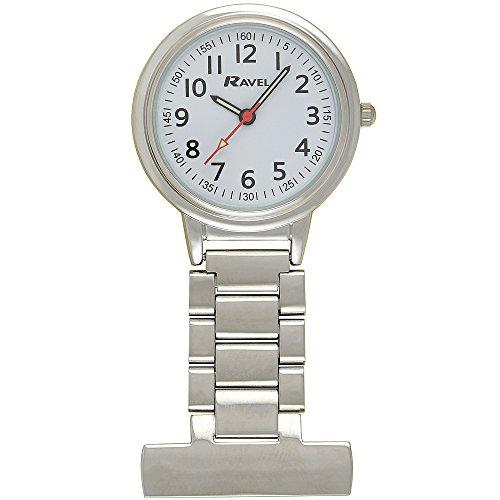 Ravel Classic Easy Read Nurses Fob Watch - Silver Tone