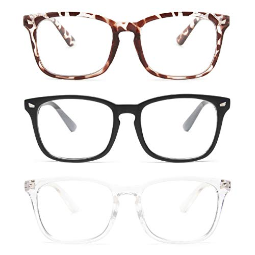 Gaoye 3-Pack Reading Glasses Blue Light Blocking Computer Readers Anti UV Ray Fashion Square Nerd Eyeglasses Frames Women Men (Matte Black & leopard & transparent, 2.0)