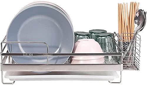 GDEVNSL Almacenamiento de Cocina, Rejillas para Platos con escurridor para Cubiertos, escurridores para Tazas, Rejillas para secar Platos, Rejilla para Platos, Soporte para Cubiertos para Cocina