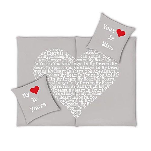 VS Home Partner-Bettwäsche Set Herz, 4-TLG. 135x200cm, 100% Baumwolle, Farbe:rot, Webart:Renforcé, Größe:135 cm x 200 cm