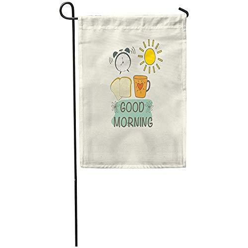 Tuinvlaggen Huis Yard Vlag Koffie Goede Ochtend Object Klok Ontbijt Brood Toast Alarm Wekker Thuis Yard Huis Decor Barnner Outdoor Stand 32X45.7CM Vlag