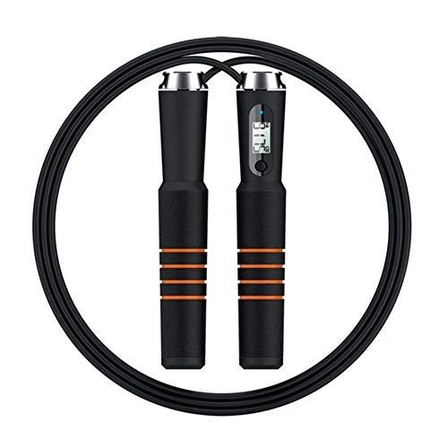 cailong Bluetooth Springseil, Ist Cross Geeignet for Digital-Calorie Geschwindigkeitszähler Springseil, for Sport-Alarm Gebraucht Gewicht Einstellung zu erinnern (Color : Black)