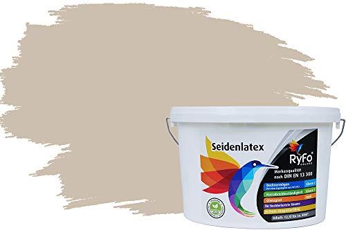 RyFo Colors Seidenlatex Trend Brauntöne Sandbeige 12,5l - bunte Innenfarbe, weitere Braun Farbtöne und Größen erhältlich, Deckkraft Klasse 1