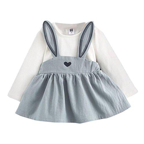 Robe de Bébé Fille - Bébé Fille 0-3 Ans Automne Mignon Lapin Bandage Suit Mini Robe Ba Zha Hei (80/12-24M, Bleu)