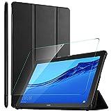 ELTD Funda + Protector Pantalla [combinación] para Huawei MediaPad T5 10 Pulgadas, Fundas Duras Case + Vidrio Templado Glass Film para MediaPad T5 10 10.1' 2018 Tableta,(Negro+1 Pack)