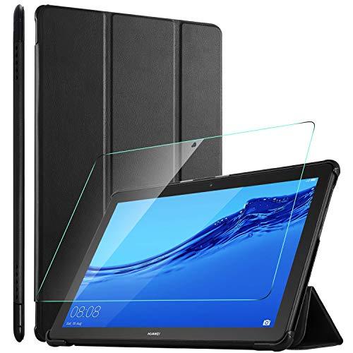 ELTD Hülle mit Bildschirmfolie für Huawei MediaPad T5 10,Ultra Slim Flip Eingebautem Magnet PU Leder Schutzhülle mit Glas Bildschirmsfolie für Huawei MediaPad T5 10 10.1 Zoll 2018(Schwarz)